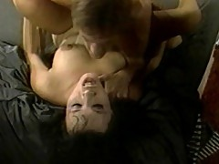 Alluring brunette slut suck on huge cock