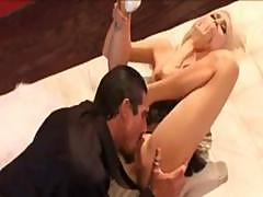 Blonde Babe Blows His Cock And Then He Pounds Her Pussy Hard