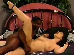 Brunette white chick butt fucked by Black man