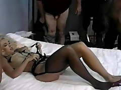 Filthy blonde slut gangbanged