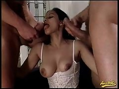 Big dicks fill a young retro girl