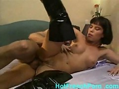 French housewife fucking the maid with her husband