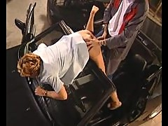 Chick fucked by mechanic in her convertible