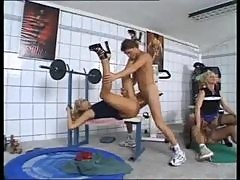 Orgy in the gym with horny whores