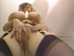 Giant tits on the solo stockings chick
