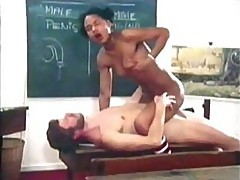 Black Schoolgirl Exposes Her Hairy Pussy For Her Beloved Teacher