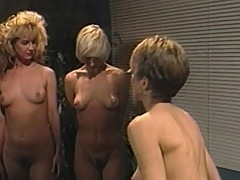 Hot lesbo threesome in warden's office