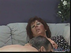 This mature whore sucks cock