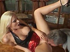 Amber Lynn squirts all over his cock